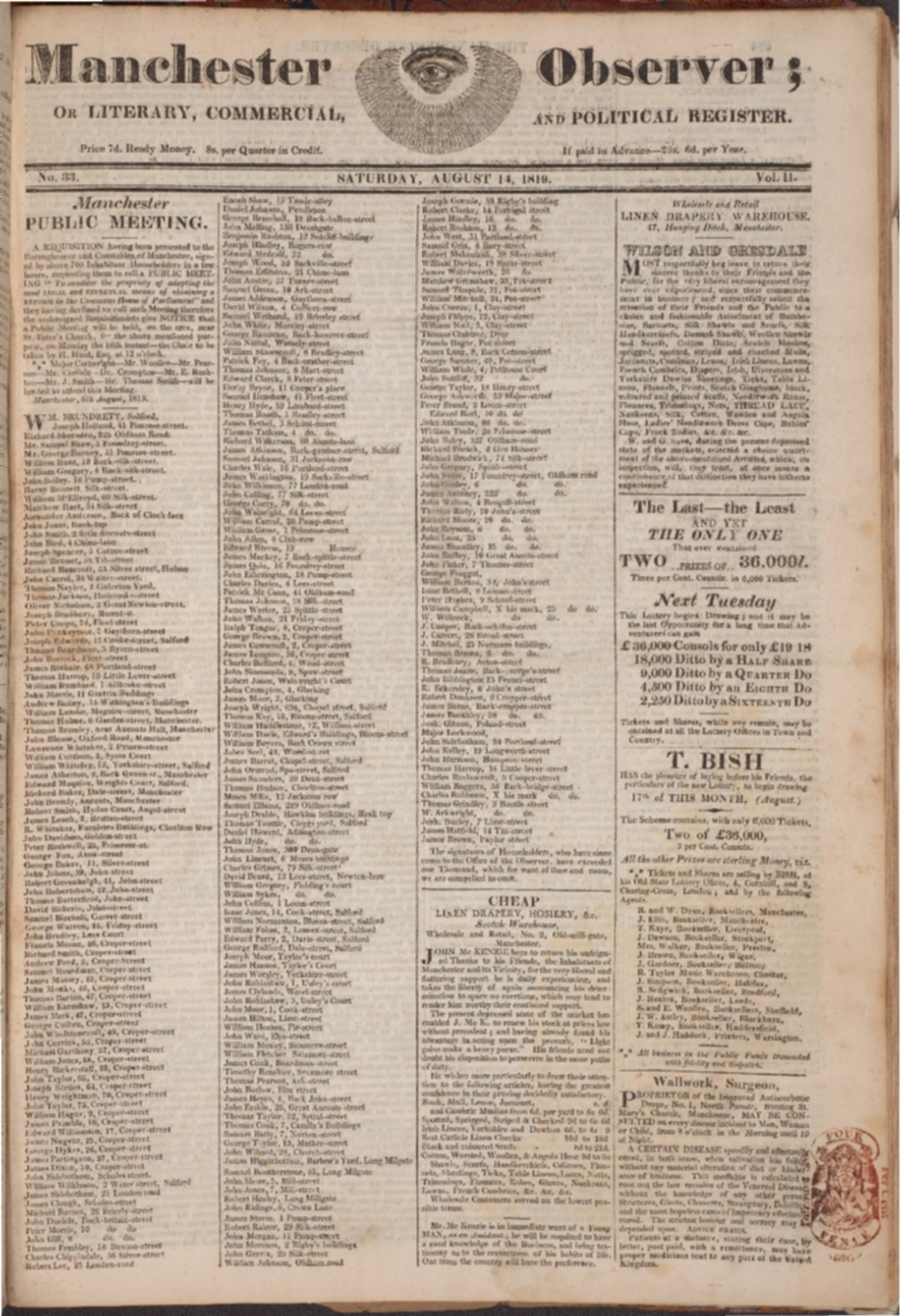 Manchester Observer, August 14, 1819. Copyright University of Manchester Library.