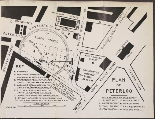 Plan of Peterloo, from F. A. Bruton, The story of Peterloo. R46153. Copyright University of Manchester Library.