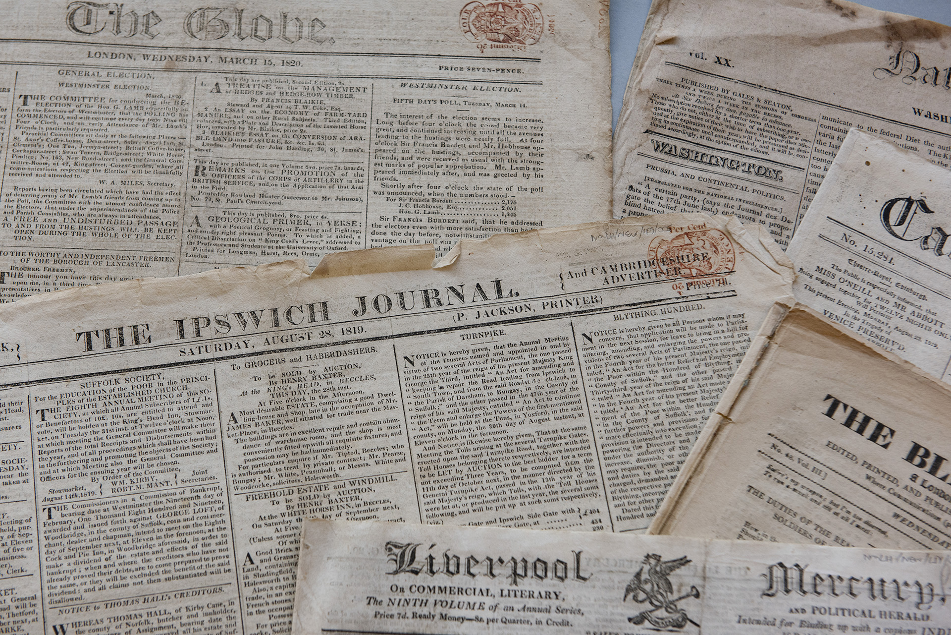 Selection of newspapers, Peterloo Massacre coverage, Labour History Arch...